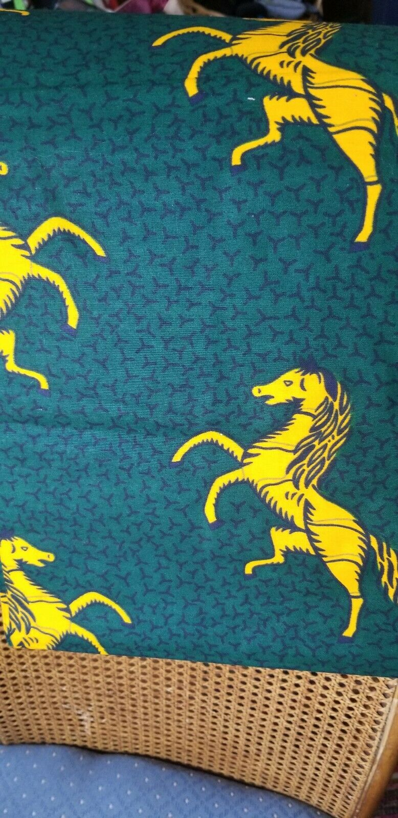 Green with Yellow horses African Print Fabric  100% .by the yard~.$15per 2yards
