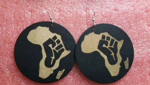 Black Power Fist Wood Women Fashion Dangle Earrings(bLK) ~$8