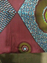 "Load image into Gallery viewer, Brown MultiAfrican Print 100% Cotton Fabric ~6yards×46""~$32"