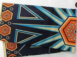 "Navy Orange multi African Print Fabric   .by the yard~ 65."" ×44""~$10"