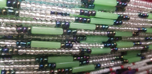 African waist beads Green& white translucent Dazzling ~ very Long