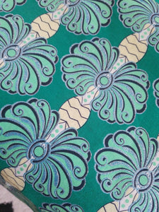 "High fashion Green MULTI African  Print 100% Cotton Fabric ~2 yds×23""  $11.50"