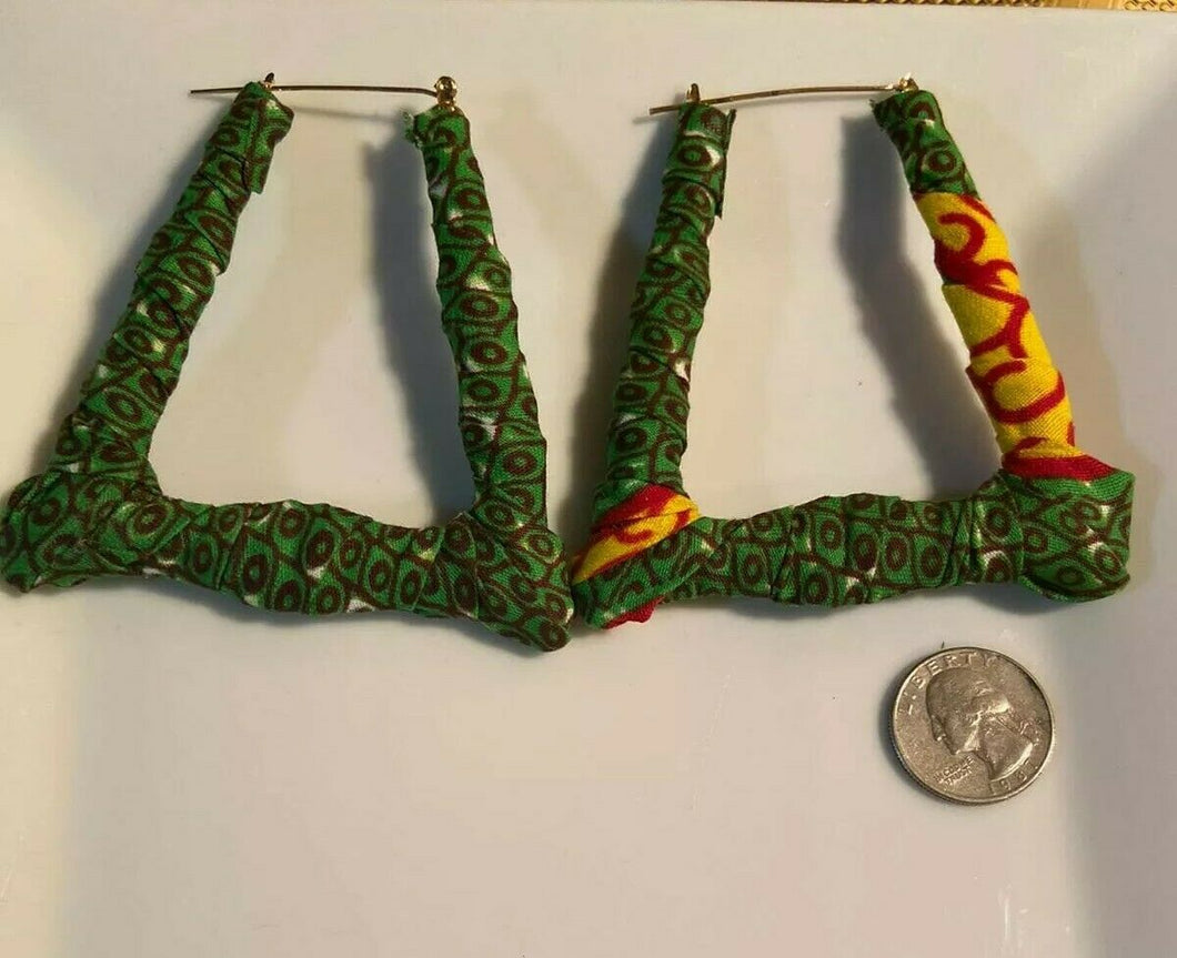 New African Earrings Fabric Handmade with Tribal Ankara/waxprint 2pairs $8