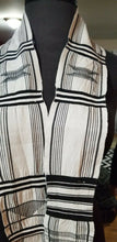 "Load image into Gallery viewer, Black And White Kente/Ewe ~Ghana 62""x12"""