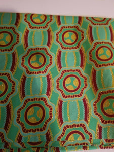 "High fashion Green MULTI African  Print 100% Cotton  ~69.5""(1yd&33"")×23""  $11.50"