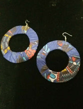 Load image into Gallery viewer, Blue Multi African Print Round Earrings $5