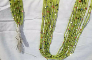"Tiny Lime Green Multi African waist Beads Long With Decorative Accents..46""-53"""
