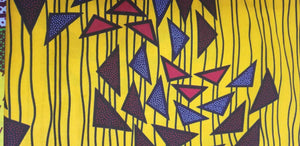 Gold and mult color triangle clusters 100% Cotton African Print $7 per yard