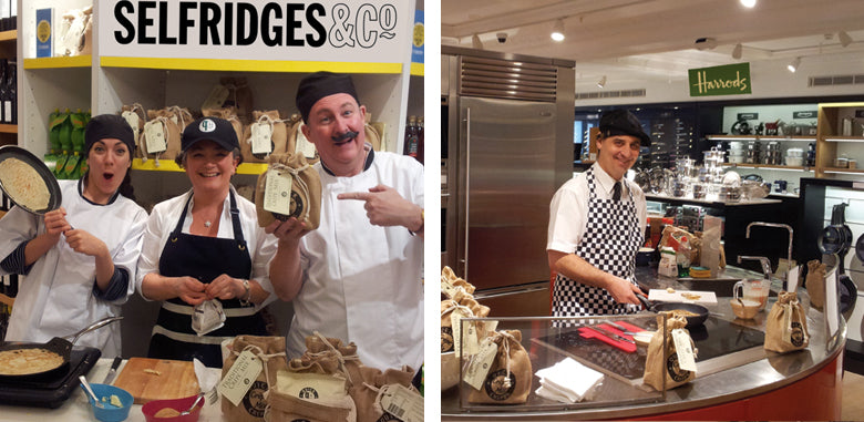Two images of Hans and Jackie Parker serving crêpes in Selfridges