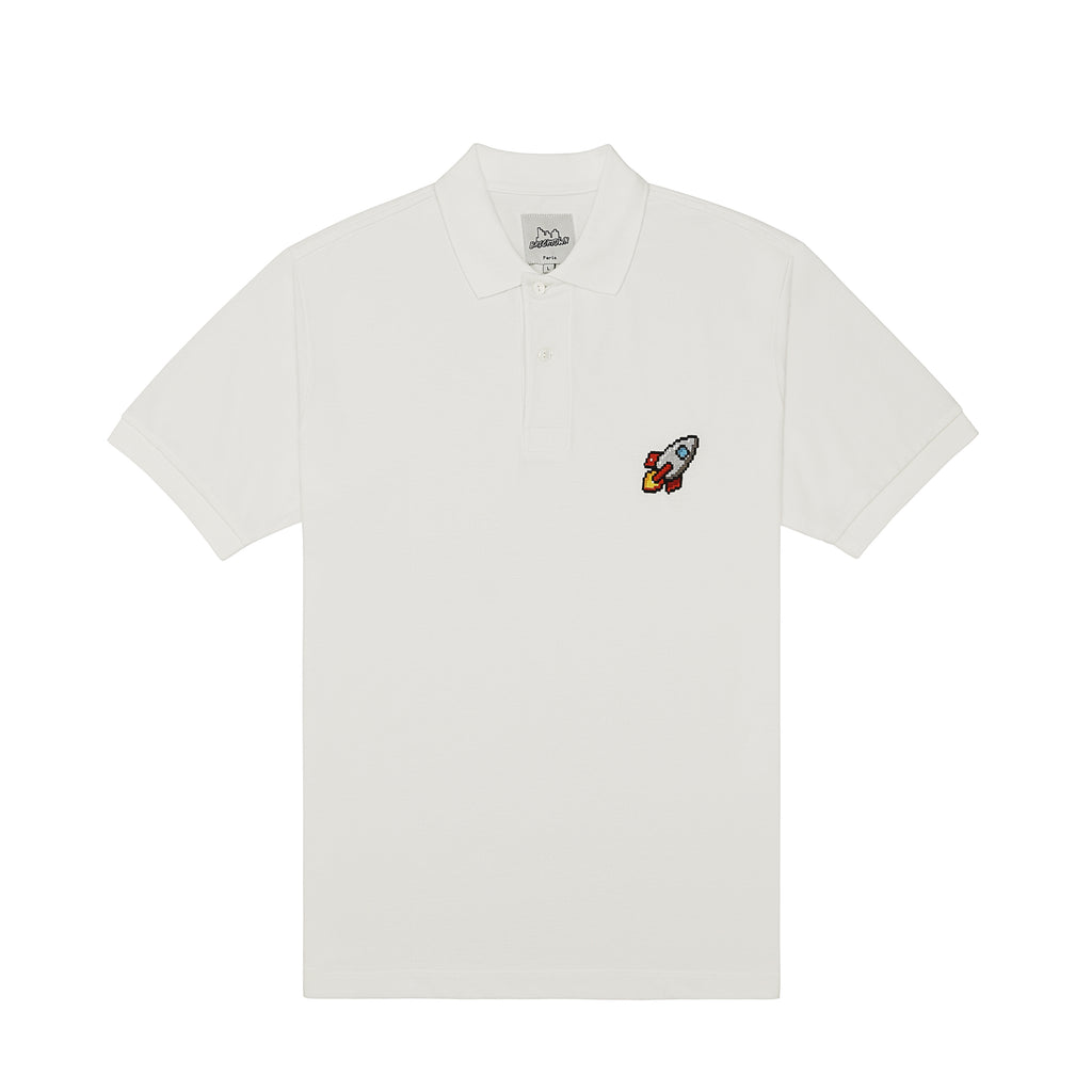 Bricktown Spaceship Embroidered White Polo