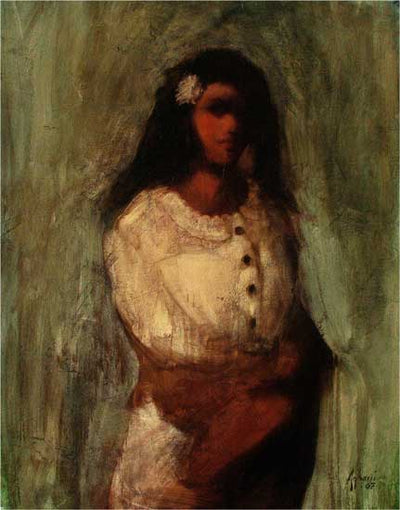 Woman with a White Flower