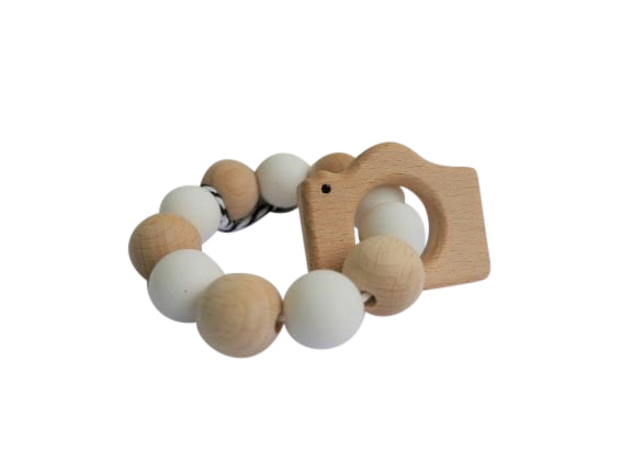 White, natural Round Teether- Camera