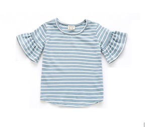 Blue stripe flutter sleeve tee