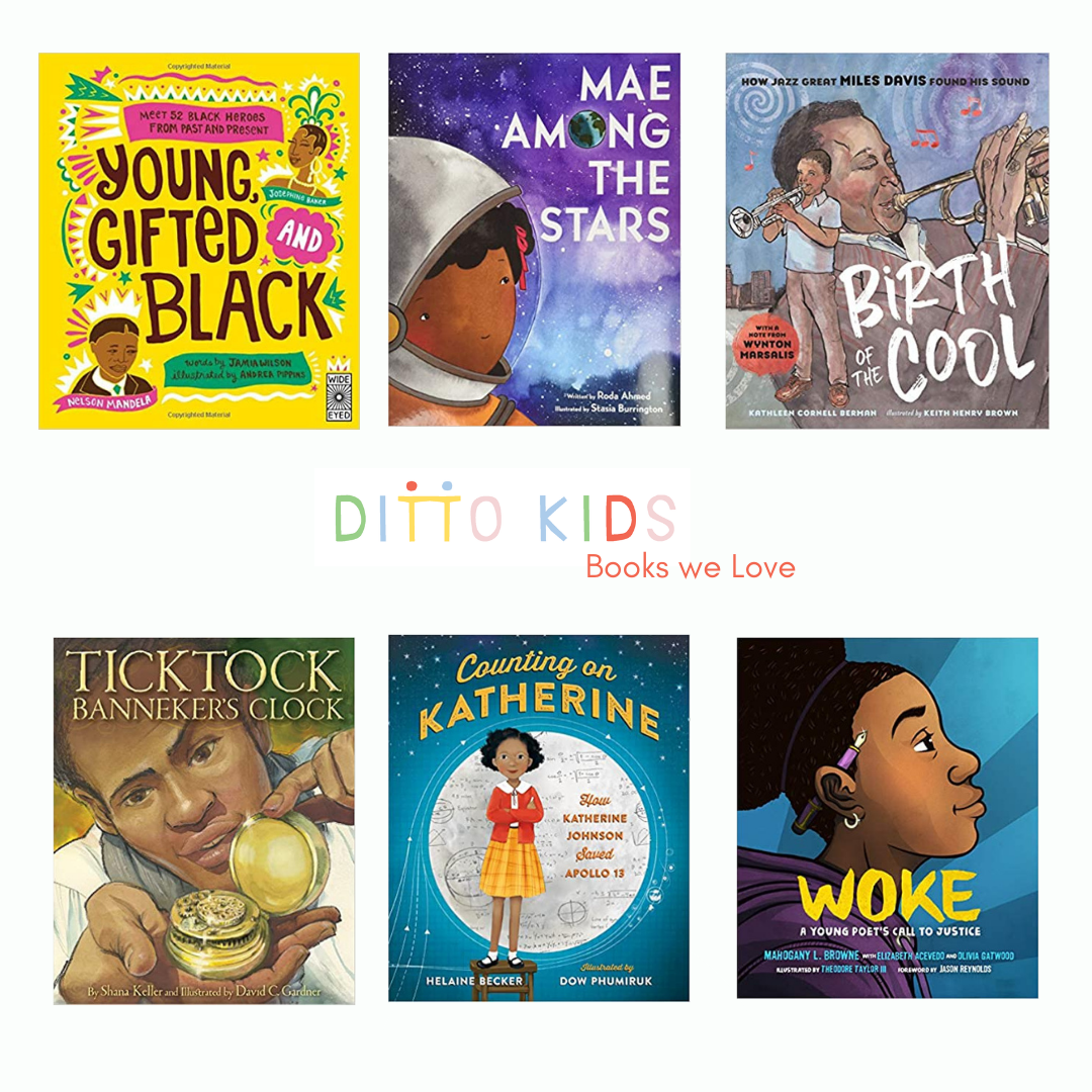 """A white background with six book covers in two rows with the colorful Ditto Kids logo in the center with an offset subtitle that reads """"Books we love"""""""