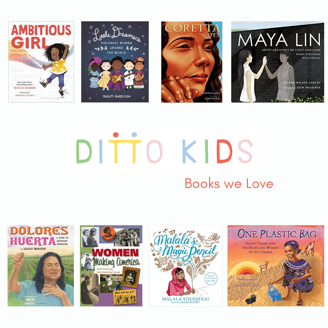 A white square image with 8 book covers floating around the multi-colored words Ditto Kids Books We Love in the center of the page