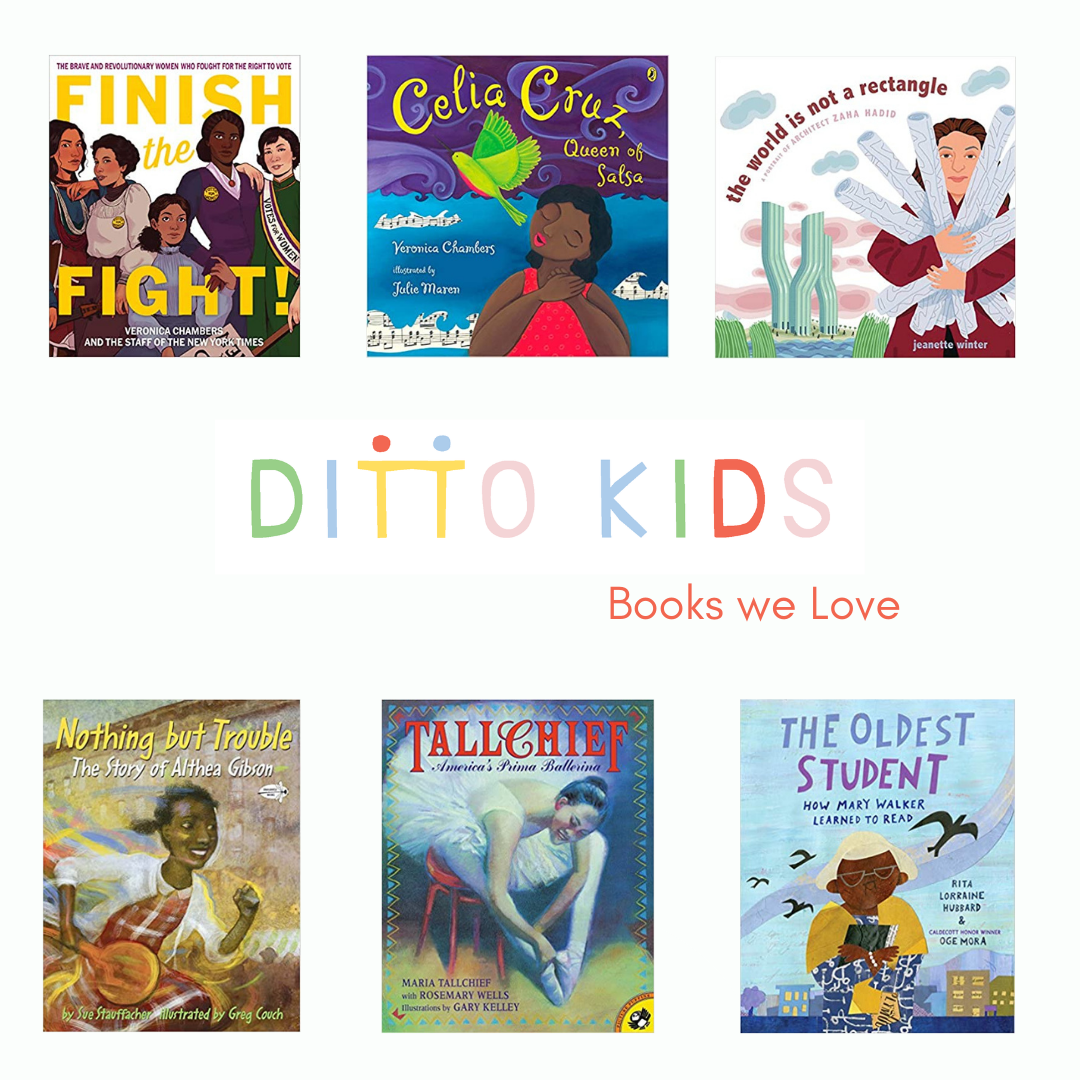 A white background with six childrens books covers floating on the white background with the words Ditto Kids Books We Love in multicolored letters in the center of the page.