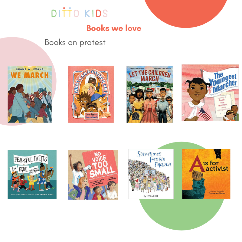 Image of children's books about protesting