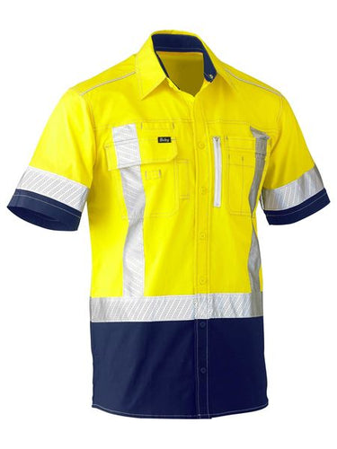 Bisley Flex & Move Two tone Hi Vis Stretch Utility Shirt - Short Sleeve - Solomon Brothers Apparel