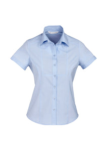 Aspect Ladies Short Sleeve Blouse Blue Stripe - Solomon Brothers Apparel