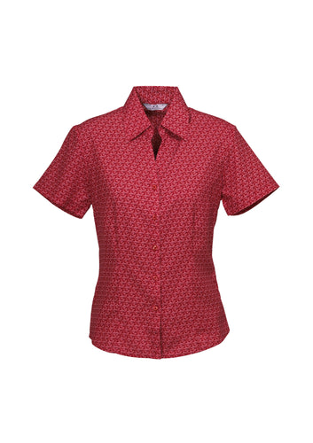Haven Ladies Short Sleeve Print Blouse Cherry - Solomon Brothers Apparel