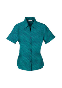 Haven Ladies Short Sleeve Print Blouse Teal - Solomon Brothers Apparel