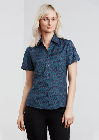 Haven Ladies Short Sleeve Print Blouse - Solomon Brothers Apparel
