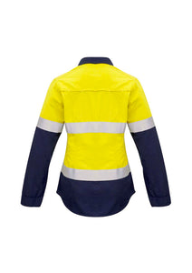 Ladies Closed Front Hi Vis Hoop Taped Spliced Red Flame Metatech Shirt - Solomon Brothers Apparel