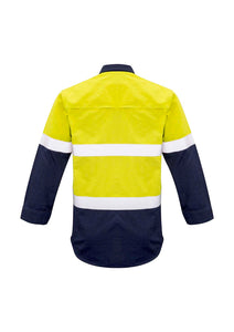 Mens Closed Front Hi Vis Hoop Taped Spliced Red Flame Metatech Shirt - Solomon Brothers Apparel