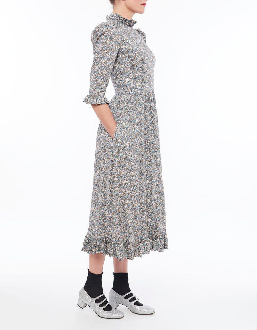 Clara Midi Dress in Grey Floral