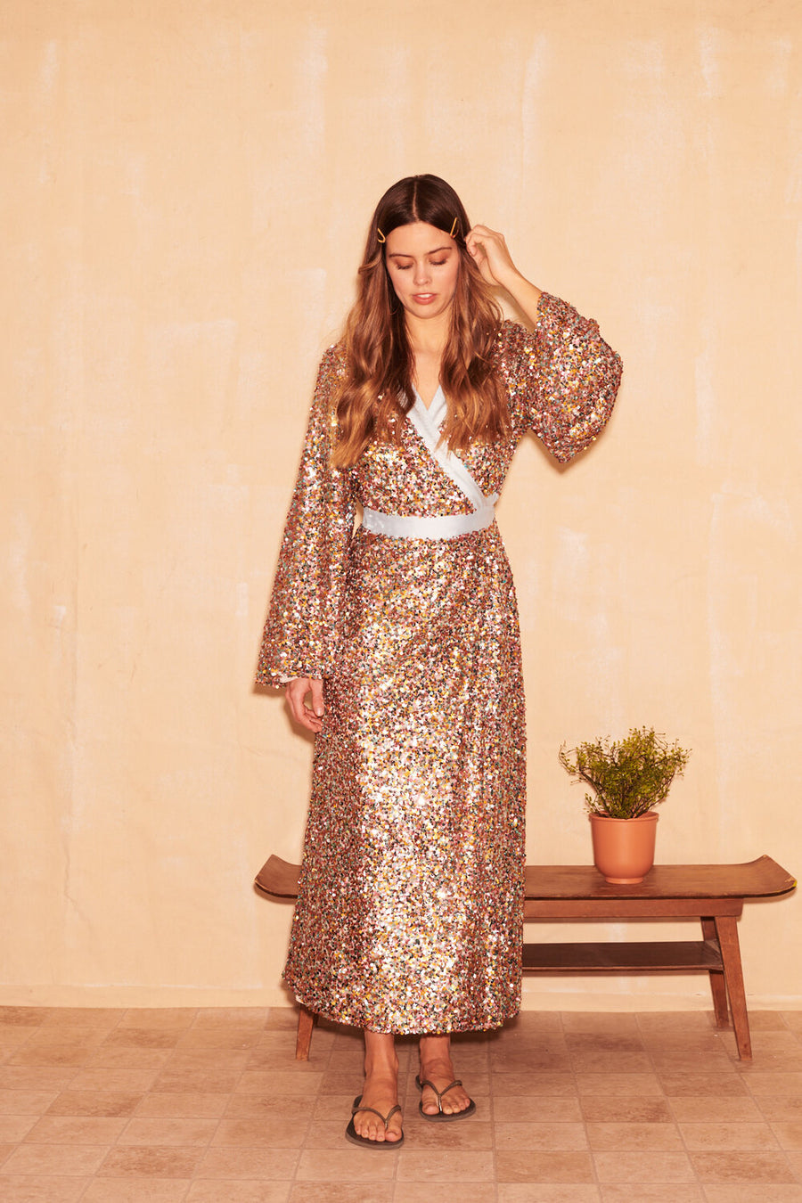 Robyn Sequin Wrap Midi Dress