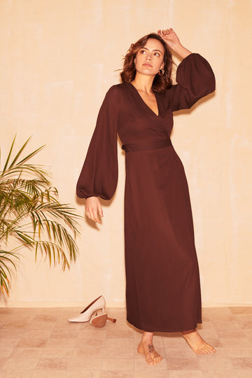 Patsy Wrap Dress in Chocolate