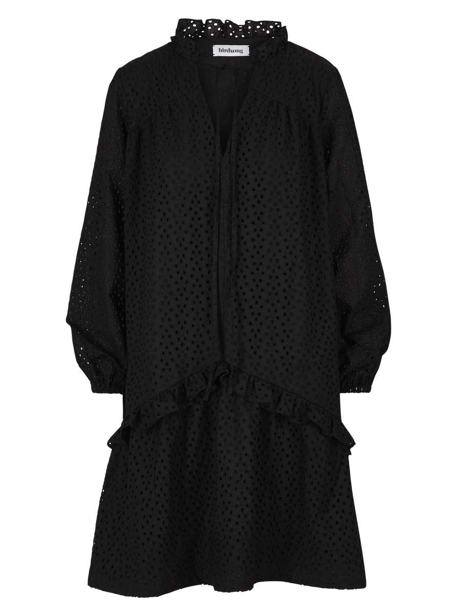 Broderie Anglaise Prairie Dress in Black