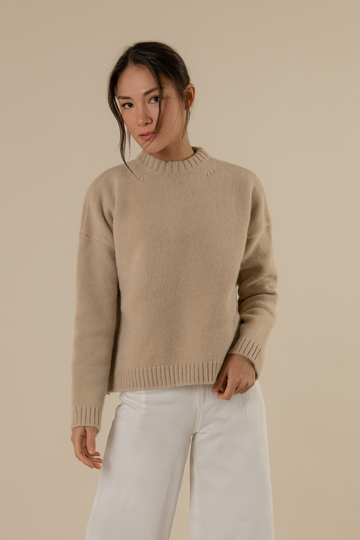 Louise Ribbed Knitted Jumper in Light Brown