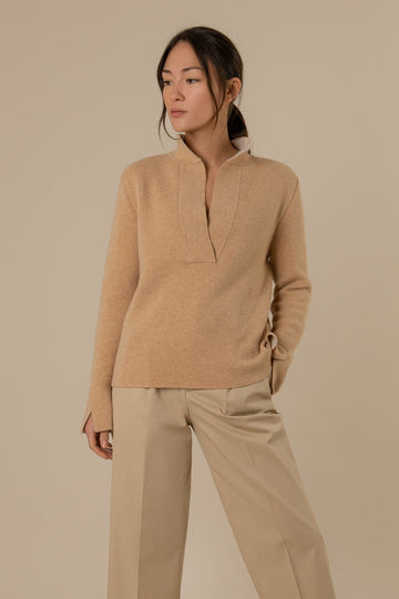 Alex Knitted Wool Jumper in Camel