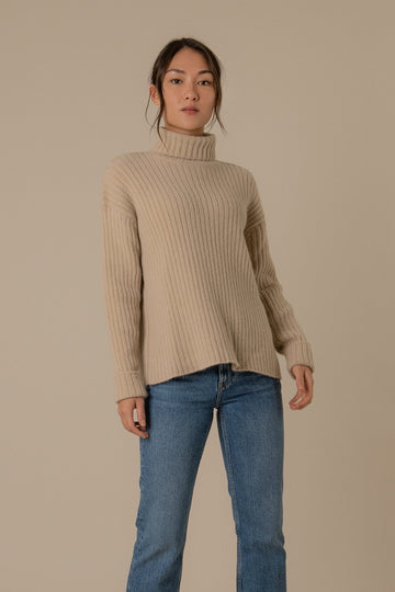 Sam Roll Neck Knitted Jumper in Light Brown