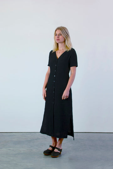 Linen Button Midi Dress in Navy