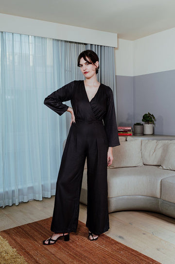 Bamboo Silk Jumpsuit in Black