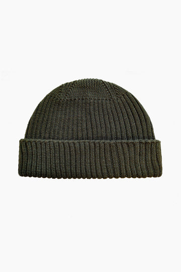 Grain Rib Organic Wool Hat - Dark Green (Army)