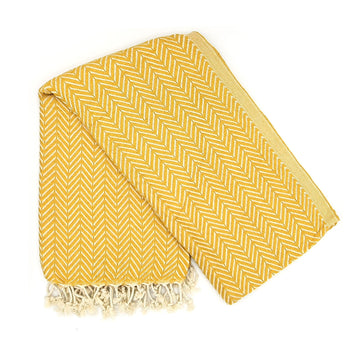 Organic Cotton Azra Hammam Towel in Mustard Yellow