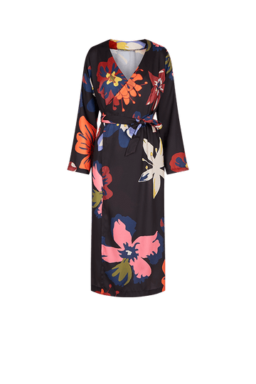 Floral Print Midi Wrap Dress in Satin Tencel or Recycled Polyester
