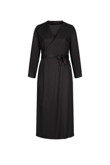 Classic Black Midi Wrap Dress in Black Bamboo Viscose