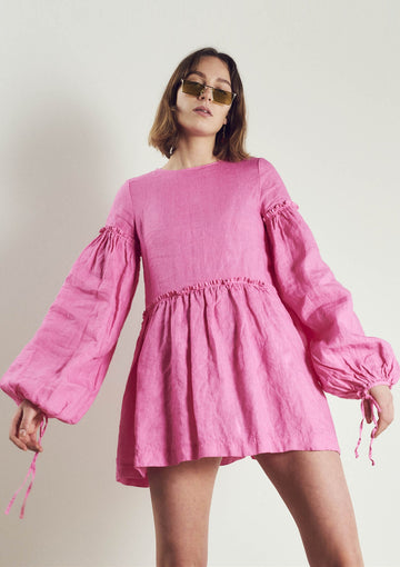 Romy Linen Dress in Neon Pink - Pre Order
