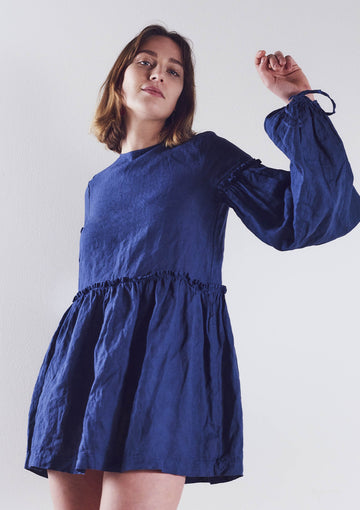 Romy Linen Dress in Blueberry - Pre Order