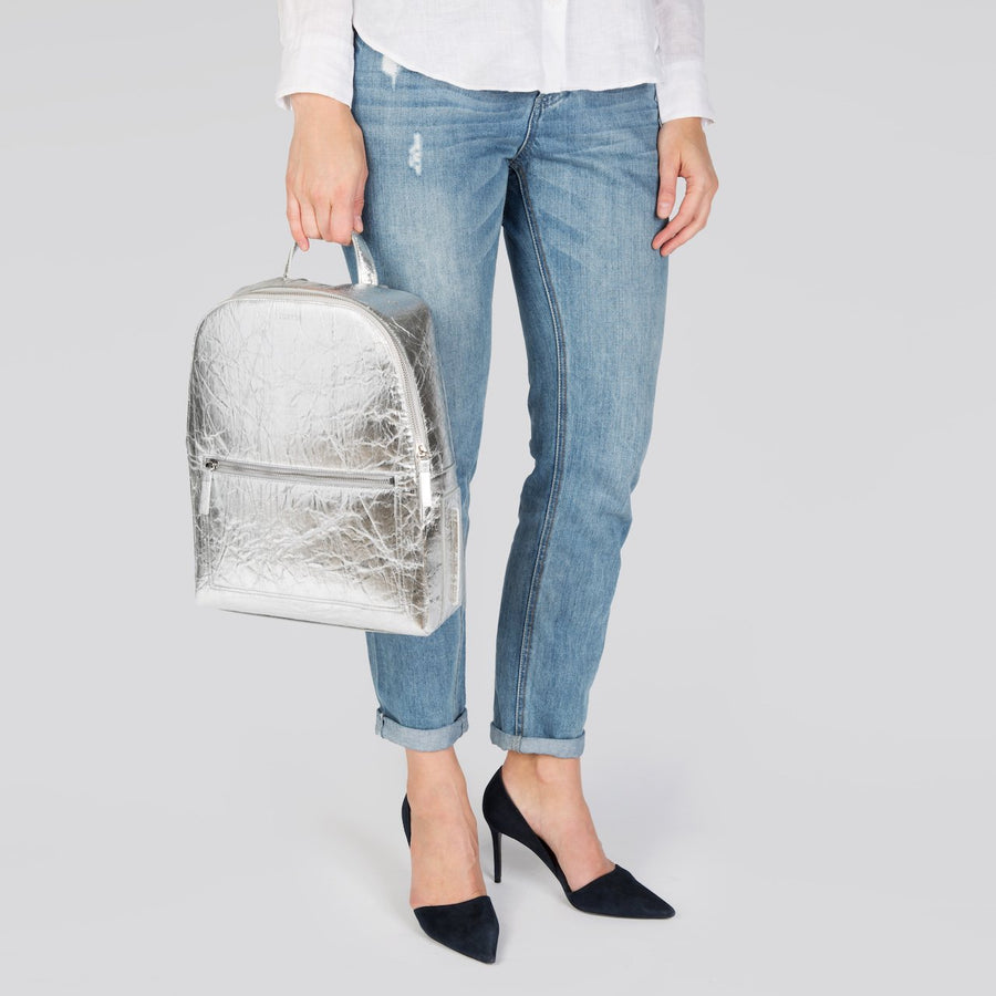 Farrell Vegan Leather Backpack in Silver