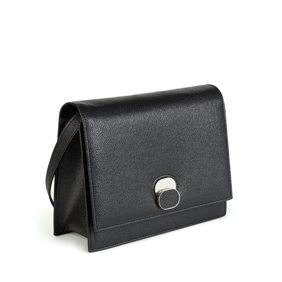Aphra Vegan Leather Shoulder Bag in Black