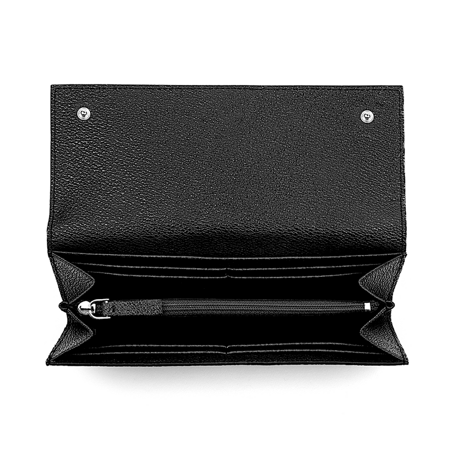 Vegan Leather Continental Wallet in Black