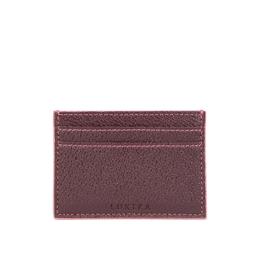 Vegan Leather Card Holder in Burgundy
