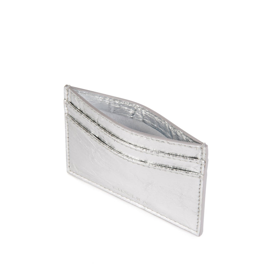 Vegan Leather Card Holder in Silver