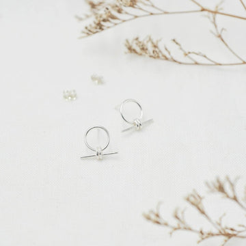 Silver Circle Drop Bar Stud Earrings