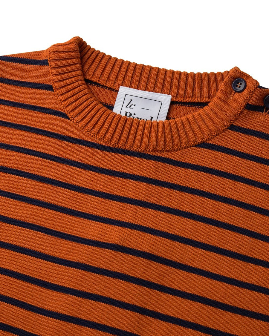 Coastal Stripe Organic Cotton Jumper - Burnt Orange/Navy